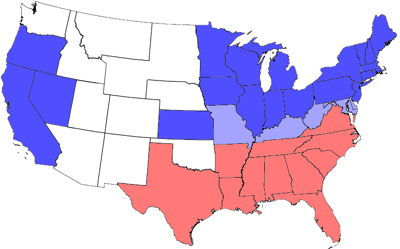 USA Map 1864 including Civil War Divisions