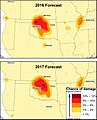USGS damage forecasts for earthquakes in Oklahoma in 2016 and 2017 (edit).jpg