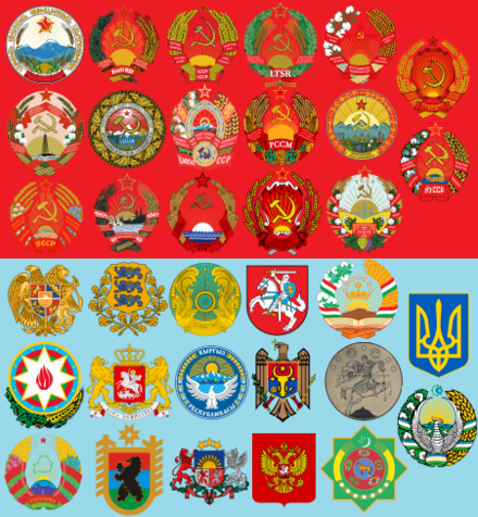 Country emblems of the independent states before and after the dissolution of the Soviet Union. Note that the Transcaucasian Soviet Federative Socialist Republic (fifth in the second row) no longer exists as a political entity of any kind and the emblem is unofficial. USSR - Then and Now.png