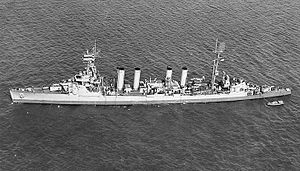 USS Cincinnati (CL-6) - Image: USS Cincinnati (CL 6) off New York City on 22 March 1944 (19 N 62458)