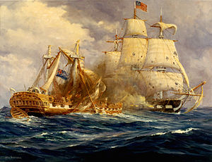 USS Constitution vs HMS Guerriere - Constitution fires into the burning hulk of Guerriere, now badly damaged.