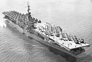 USS Essex (CV-9) underway in the early 1950s
