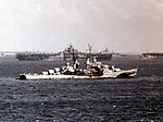 USS Flint (CL-97) at anchor in March 1945 (80-G-K-3813).jpg
