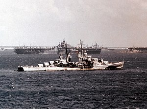 USS Flint (CL-97) at anchor in March 1945 (80-G-K-3813).jpg