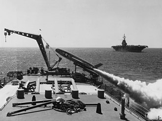SSM-N-8 Regulus - Image: USS Los Angeles (CA 135) firing a Regulus I missile on 7 August 1957 (NH 97391)