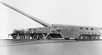 "14""/50 caliber railway gun - Mk I gun car of the type that served in France"