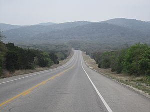 U.S. Route 83 - US 83 as it winds through the Texas Hill Country in Uvalde County, Texas