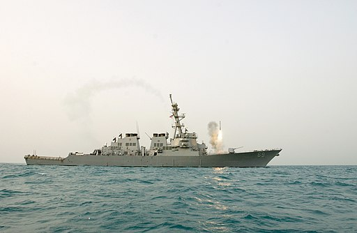 US Navy 030322-N-1035L-002 The guided missile destroyer USS Milius (DDG 69) launches a Tomahawk Land Attack Missile (TLAM) toward Iraq