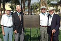US Navy 051027-N-1577S-112 From left, fellow Medal of Honor recipients Bob Modrzejewski, Walt Elhers, and John Baca pose in front of the dedication plaque.jpg