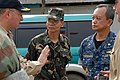 US Navy 080625-N-0640K-023 Rear Adm. James P. Wisecup, left, speaks with Col. Rene David, center, 1st Brigade, 3rd Division commander of the Armed Forces of the Philippines.jpg