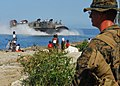 US Navy 100129-N-1092P-252 A Marine assigned to the 22nd Marine Expeditionary Force (22nd MEU) watches as a landing craft air cushion approaches the Grand-Goave, Haiti.jpg