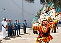 US Navy 100526-N-8539M-019 Capt. Rich Clemmons, left, Commodore of Destroyer Squadron 31, stands with officers of the Indonesian navy as they watch dancers perform a traditional welcome for the amphibious dock landing ship USS.jpg