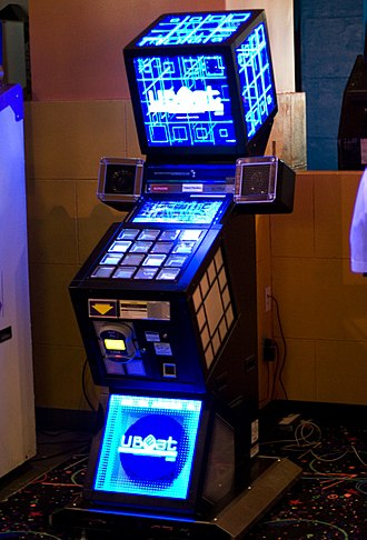"""Jubeat - A Jubeat cabinet (under the title """"UBeat"""") during an American location test in 2008"""