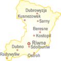 Ukraine einfach Oblast Riwne mit Städten.png