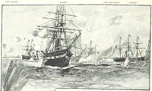 USS Wabash (1855) - Wabash (foreground) with the Union fleet at Port Royal