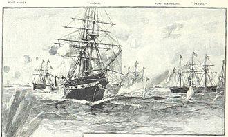 USS Wabash (1855) - Wabash (foreground) with the Union fleet at Port Royal
