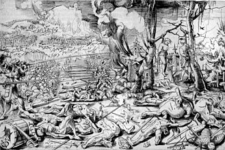 Military art - After the Battle of Marignano, drawing by Urs Graf, 1521