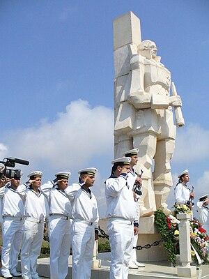 Battle of Cape Kaliakra - Bulgarian sailors at the monument to Admiral Ushakov on Cape Kaliakra
