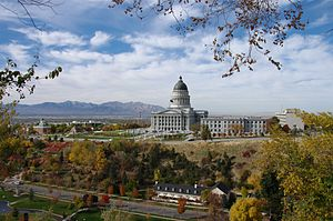 Utah State Capitol - Capitol Hill looking west