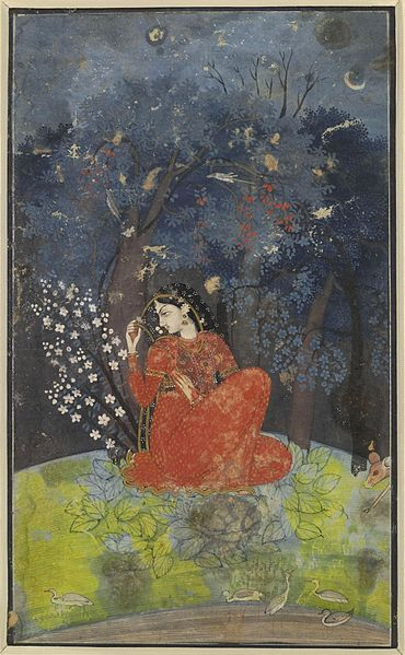 File:Utka Nayika. A lady awaits her lover in the forest. 1775-1780. Kangra, British Museum, London.jpg