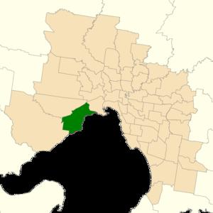 Electoral district of Altona - Location of Altona (dark green) in Greater Melbourne