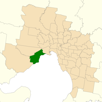 Electoral district of Altona - Location of Altona (dark green) in Greater Melbourne
