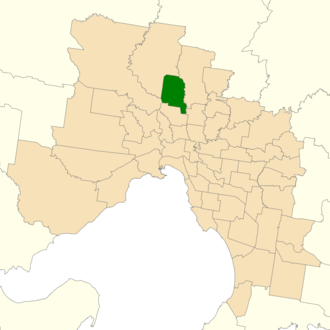 Electoral district of Broadmeadows - Location of Broadmeadows (dark green) in Greater Melbourne