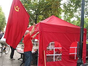 Communist Party of Norway - Campaign booth ahead of the 2009 election.