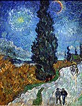 An early night sky with an intense large yellow star surrounded by a white halo to the top left, an intense yellow and red-lined glowing crescent moon to the mid-right top. A large singular dark green Cypress tree painted with impasto and intense upright brushstrokes extends down the middle of the painting, from the top of the canvas to the burnt orange field below, where it grows beside a twisting stream. in the far distant horizon are low blue hills and to the far right is a farmhouse with smoke from the chimney and lights on within. Along the right side of the foreground are two figures walking along on the road and quite a way behind them is a horse drawn buggy also coming down the road.