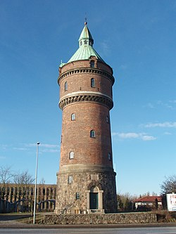 The old water tower at Randersvej from 1907, is a landmark of Aarhus N. It supplied water to this high lying region of the city to support new settlements here in its day.