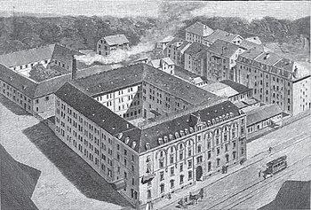Corporate headquarters in 1898; drawing by Paul Schmohl[de] (Source: Wikimedia)