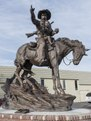 "Vic Payne's ""Memories"" sculpture, depicting a mounted cowboy and child and on loan from the private collector William F. Widger, on display in Montrose, Colorado LCCN2015632510.tif"