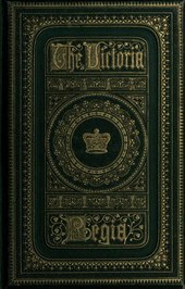"Book cover showing a large, deep blue volume. The words ""Victoria Regia"" are prominent in the center, in a large, heavy, old-fashioned font, with gold embossed lettering. The title is surrounded by gold-embossed scrolls."
