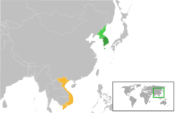 Map indicating locations of South Korea and Vietnam