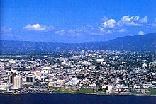 View of the city of Kingston from the Kingston Harbour.