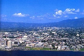 Kingston, Jamaica - Photo of the city of Kingston taken from a helicopter