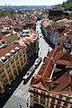 View of Prague and Prague tram from Saint Nicholas church in April 2015.jpg