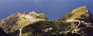 St. Johns, Saba - View of St Johns Village as seen from Mount Scenery