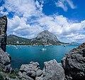 View to the Sudak-Liman Bay and the Sokol Rock. Novy Svet, Crimea.jpg