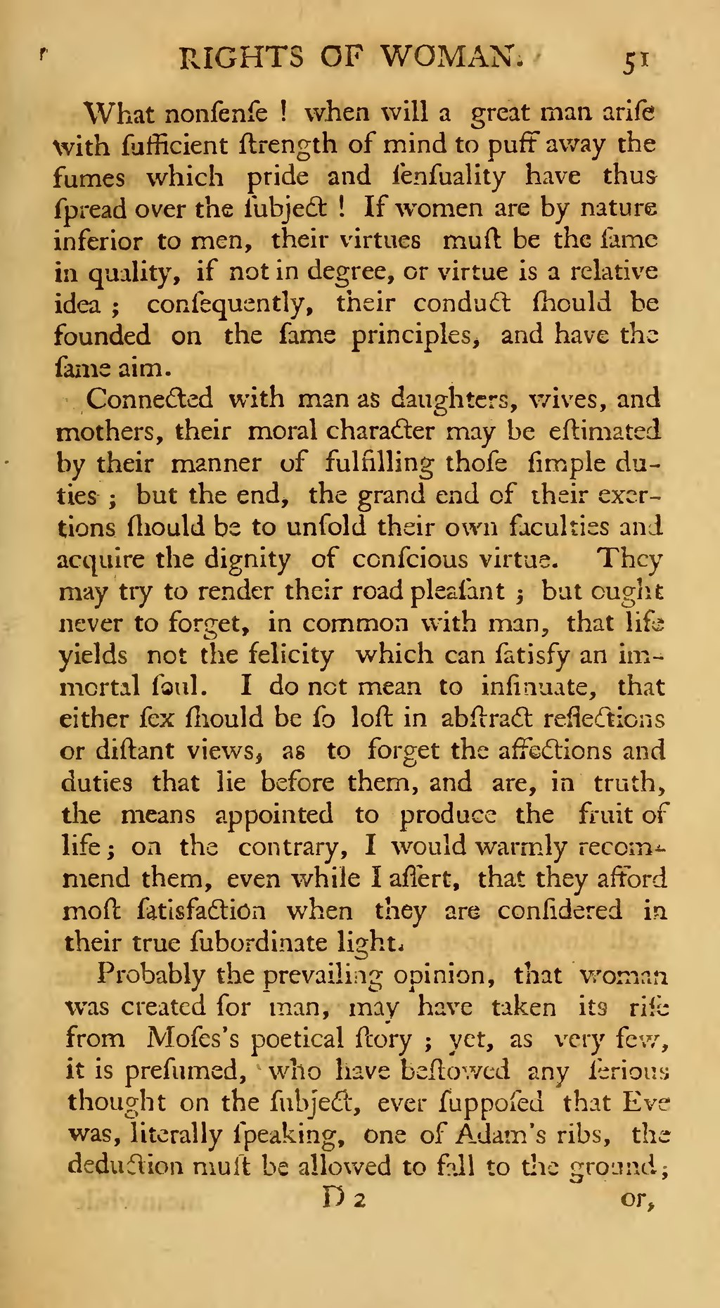"""a discussion on two passages from a vindication of the rights of woman Mary wollstoncecraft's a vindication of the rights of woman has repeatedly  of  major significance as the first feminist manifesto"""" (encyclopedia of the essay   this dash does not only connect the two parts of the passage but also lends a."""
