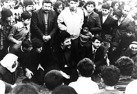 Musa Sadr visiting bombarded areas in Southern Lebanon Visit of Imam Musa al-Sadr from the bombarded areas of southern Lebanon (2).jpg