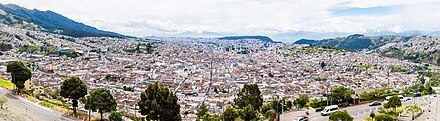 View of Quito from El Panecillo. Vista de Quito desde El Panecillo, Ecuador, 2015-07-22, DD 34-37 PAN.JPG