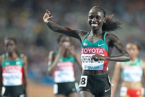 2011 World Championships in Athletics – Women's 10,000 metres - Vivian Cheruiyot after leading the Kenyan sweep of the 10,000.