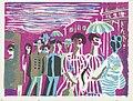 Voetgangers in Ginza Night of Ginza (titel op object) Herinneringen aan Tokyo (serietitel) Tokyo kaiko zue (serietitel), RP-P-2004-84-12.jpg