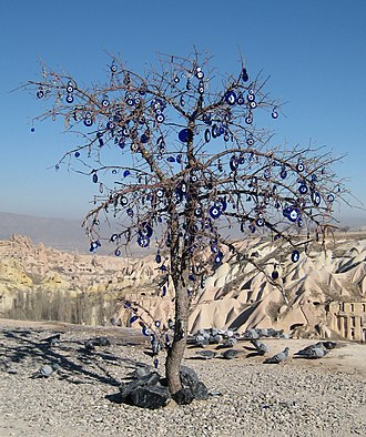 Evil eye - Tree with nazars in Cappadocia, Turkey.