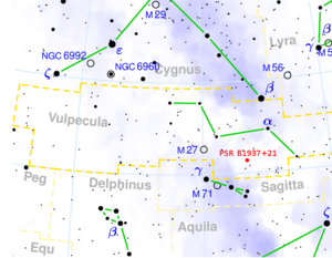 PSR B1937+21 - Image: Vulpecula constellation map with PSR B1937+21