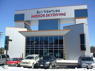 Vertical wind tunnel - Recirculating indoor recreational vertical wind tunnel.
