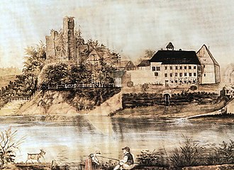County of Wölpe - Painting of Schloss Wölpe in 1823. Left: its original site as a motte and bailey castle
