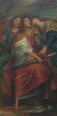 Eine Frau mit einem Schwert wird von zwei anderen Frauen festgehalten