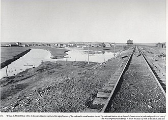 Wibaux, Montana - Northern Pacific Railway tracks in the Wibaux area in 1894, by Frank Jay Haynes.